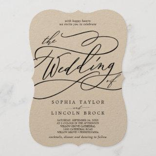Romantic Kraft Calligraphy Flourish The Wedding Of Invitations