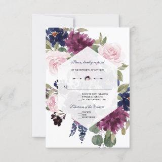 Romantic Lavender Navy Blue Floral Bloom Wedding RSVP Card