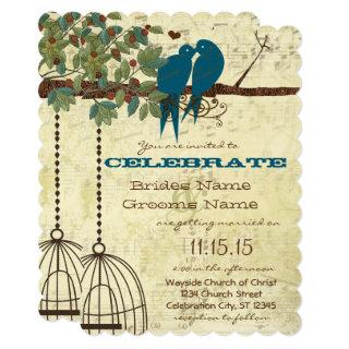 Romantic Love Bird Sitting In Tree Wedding Invite