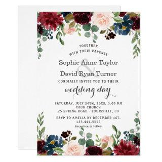 Romantic Merlot Navy Blue Blush Floral Wedding Invitation