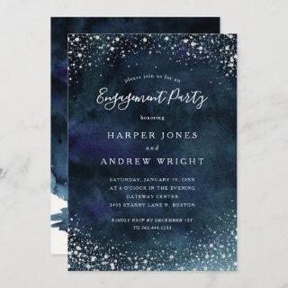 Romantic Navy Blue Silver Engagement Party Invitations