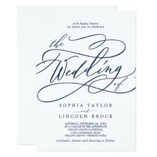 Romantic Navy Calligraphy All In One Wedding Invitations