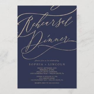 Romantic Navy Calligraphy Rehearsal Dinner Invitations