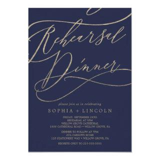 Romantic Navy Calligraphy Rehearsal Dinner Invitation
