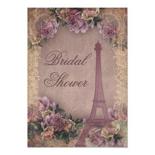 Romantic Paris Vintage Roses Lace Bridal Shower Invitations