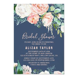 Romantic Peony Flowers | Blue Bridal Shower Invitations