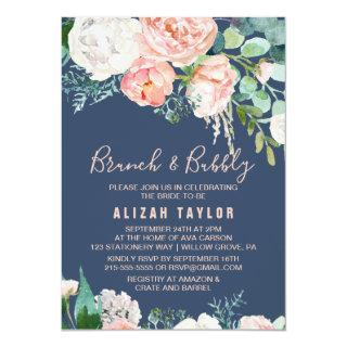 Romantic Peony Flowers | Blue Brunch & Bubbly Invitation
