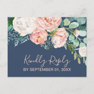 Romantic Peony Flowers | Blue Song Request RSVP Invitations Postcard