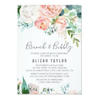 Romantic Peony Flowers Brunch & Bubbly Invitation
