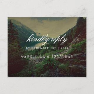 Romantic Pines, Mountains & Lake | Modern RSVP Invitations Postcard
