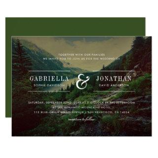 Romantic Pines, Mountains & Lake | Modern Wedding Invitations