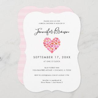 Romantic Pink Heart Bridal Shower Invitation