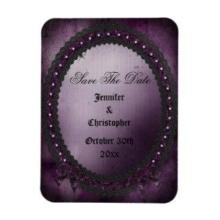 Romantic Purple Gothic Frame Save The Date Wedding Magnet