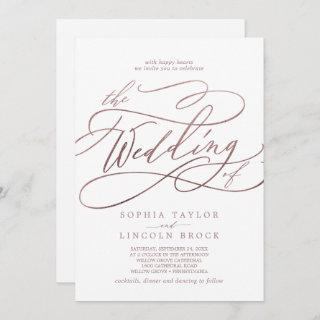Romantic Rose Gold Calligraphy All In One Wedding Invitations