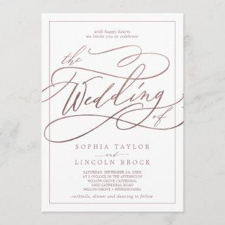Romantic Rose Gold Calligraphy Frame The Wedding Invitations