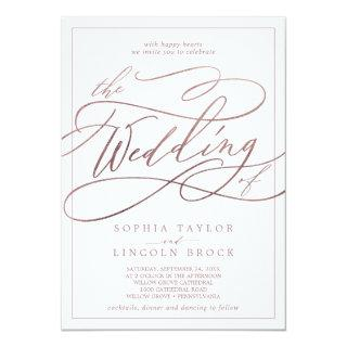 Romantic Rose Gold Calligraphy Frame The Wedding Invitation