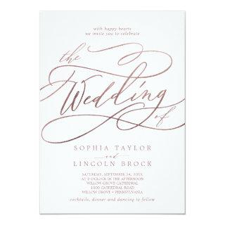 Romantic Rose Gold Calligraphy The Wedding Of Invitations