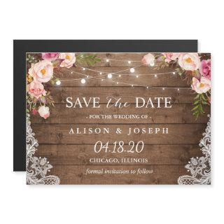 Romantic Rustic Floral String Light Save the Date Magnetic Invitations