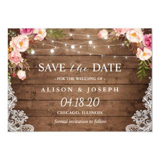 Romantic Rustic Floral String Light Save the Date Magnetic Invitation