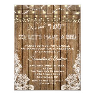 Romantic Rustic Lace String Lights I DO BBQ Invitations
