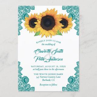 Romantic Rustic Teal Lace Sunflower Wedding Invitation