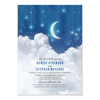 Romantic Stars and Moon Wedding invitation