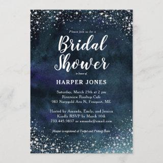Romantic Stars Navy Blue Silver Bridal Shower Invitations