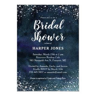 Romantic Stars Navy Blue Silver Bridal Shower Invitation