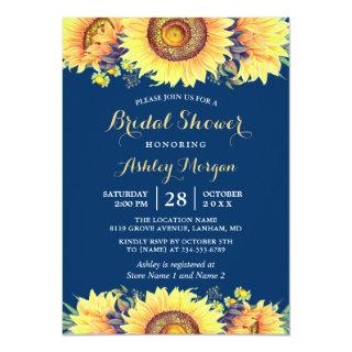 Romantic Sunflowers Rustic Navy Blue Bridal Shower Invitations