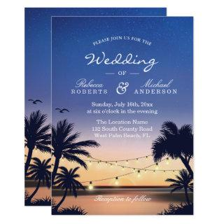 Romantic Sunset Palm Beach String Lights Wedding Invitations