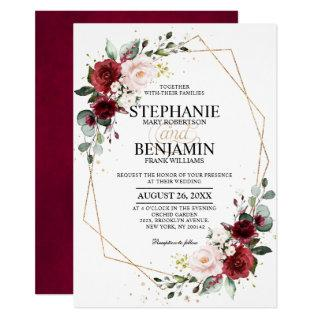 Romantic Watercolor Burgundy Floral Geometric Invitation