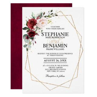 Romantic Watercolor Burgundy Floral Geometric Invitations