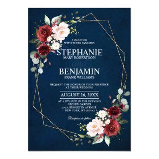 Romantic Watercolor Burgundy Navy Floral Geometric Invitations