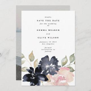 Romantic Watercolor Florals Wedding Photo Save The Date
