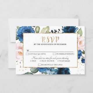 Romantic Watercolor Navy blue Blush Rose Floral RSVP Card