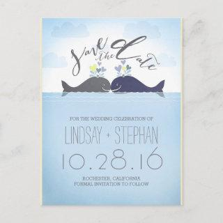 Romantic Whales Couple Save the Date Announcement Postcard