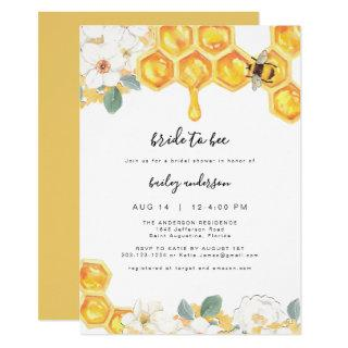 Romy - Floral Honey Bumble Bee Bridal Shower Invitations