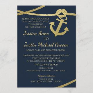 Rope Anchor Gold and Navy Blue Wedding