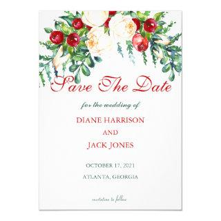 Rose and Berry Watercolor Stems Wedding Invitation