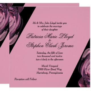 Rose and Black Unique Wedding Invitations
