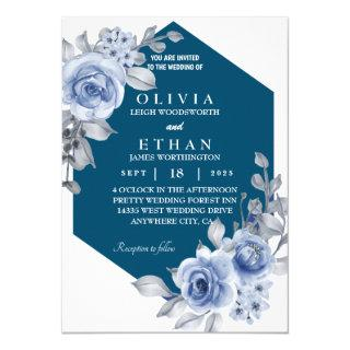 rose and leaf navy blue Invitations