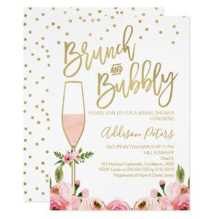 Rose Floral Brunch Bubbly Bridal Shower Invitation