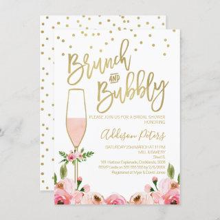 Rose Floral Brunch Bubbly Bridal Shower Invitations