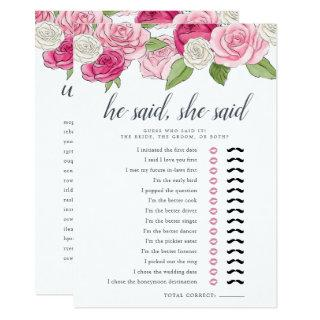 Rosé Garden Double-Sided Bridal Shower Game Invitations