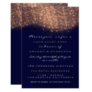 Rose Glitter Copper Blue Navy Formal Invitations