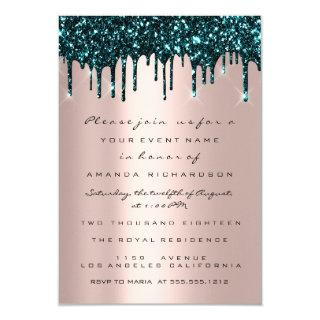 Rose Glitter Drips Teal Bridal Shower Sweet 16th Invitations