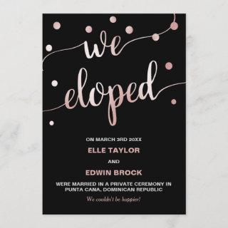 Rose Gold and Black | Glam Elopement Announcement