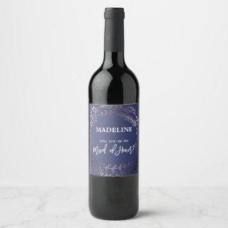 Rose Gold and Navy Will You Be My Maid of Honor Wine Label