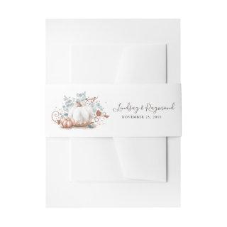 Rose Gold and White Pumpkin Fall Harvest Invitation Belly Band