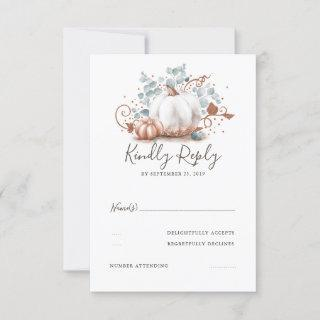 Rose Gold and White Pumpkins Fall Wedding RSVP